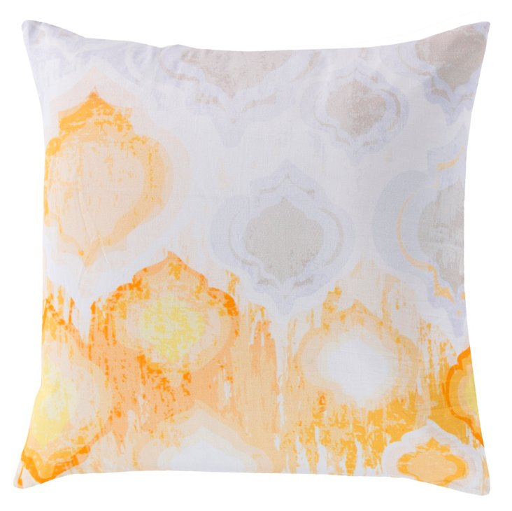 Watercolor 18x18 Cotton Pillow, Ivory
