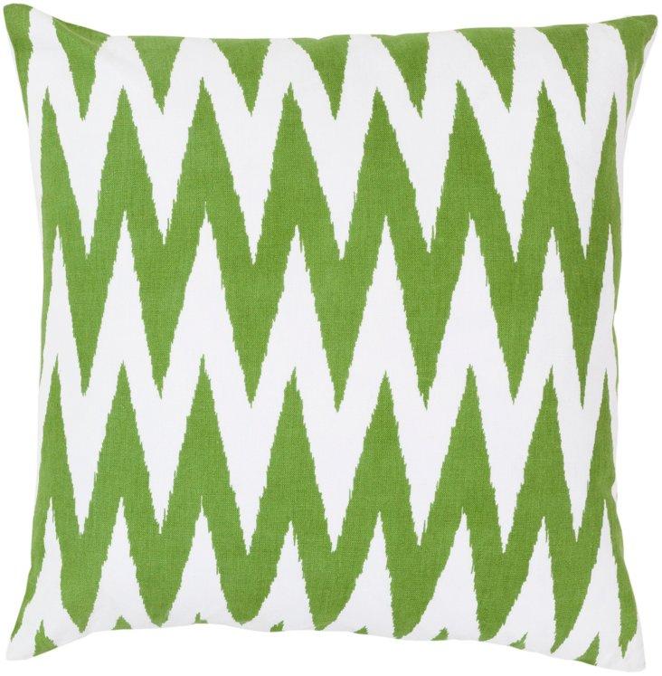 Bite Cotton Pillow, Green