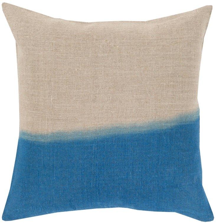 Dip-Dyed Linen Pillow, Blue
