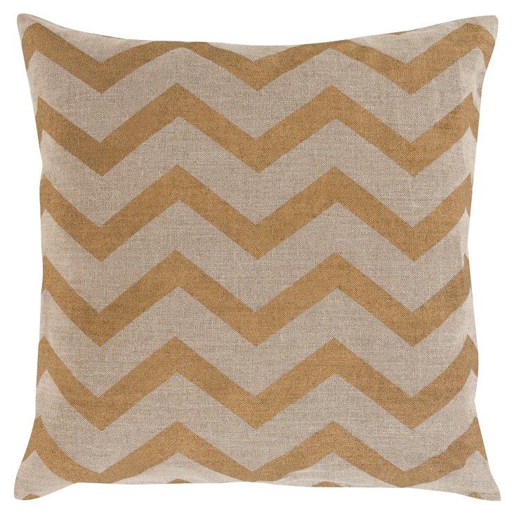 Zigzag Linen Pillow, Yellow