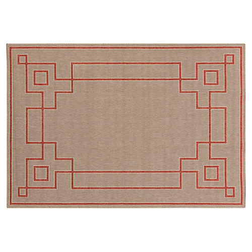 Richmond Outdoor Rug, Neutral/Red