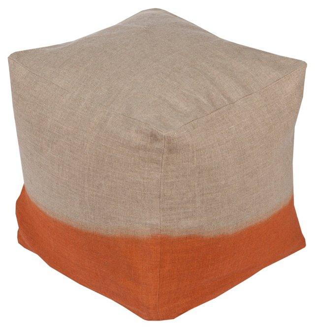 Hazel Linen Pouf, Orange