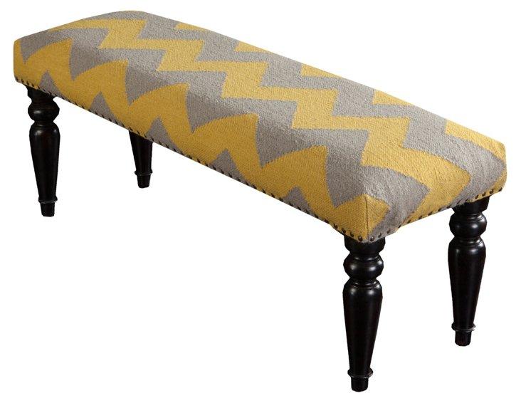 Harper Wool Bench, Yellow/Gray