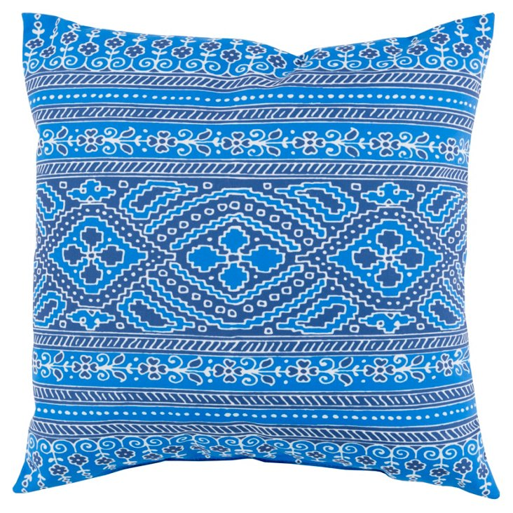 Deja 18x18 Outdoor Pillow, Indigo