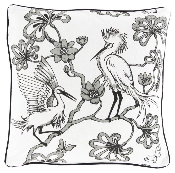 Birds 20x20 Cotton Pillow, Gray
