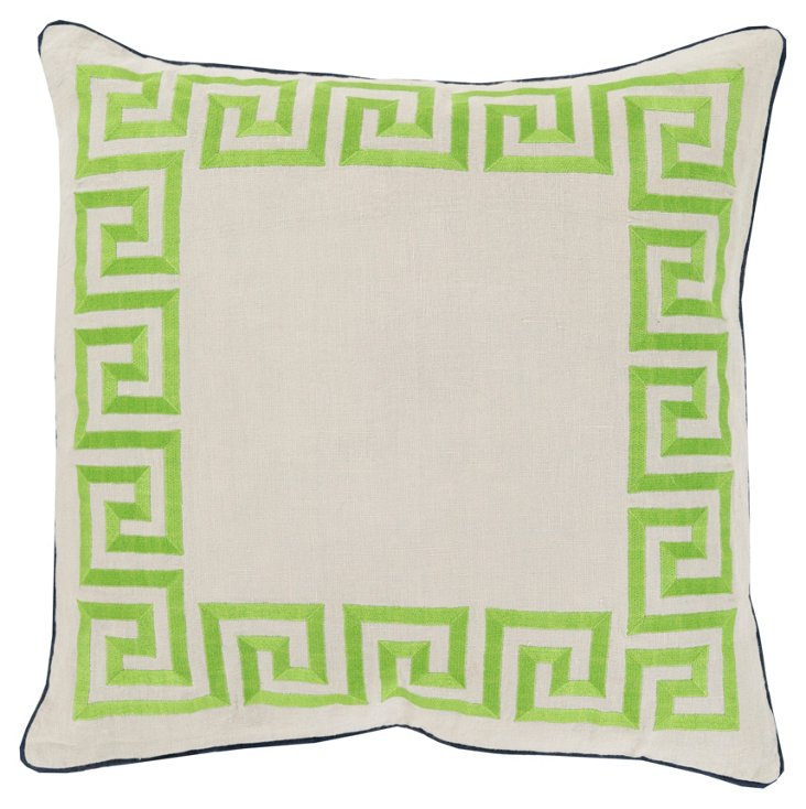 Greek Key Embroidered Pillow, Lime
