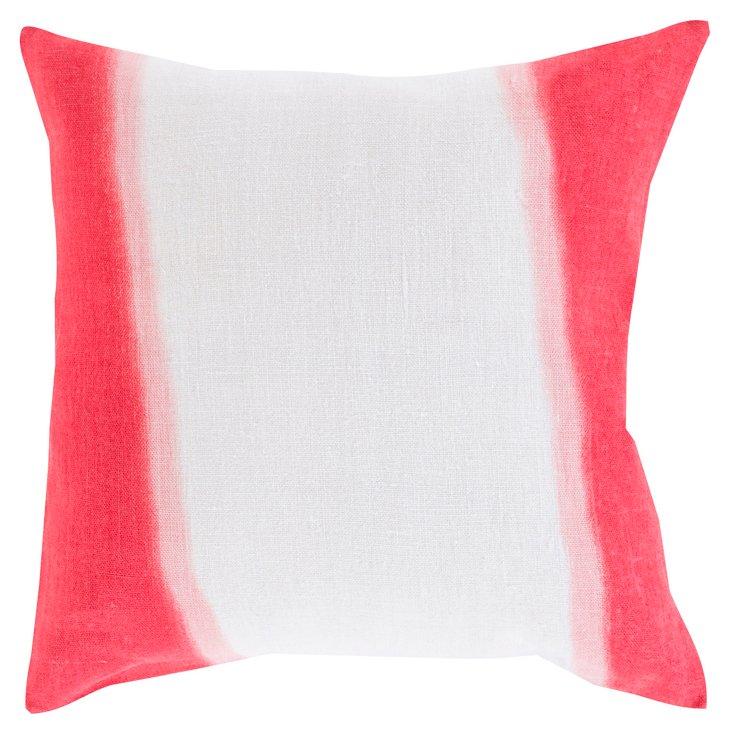 Dip-Dyed Linen Pillow, Poppy