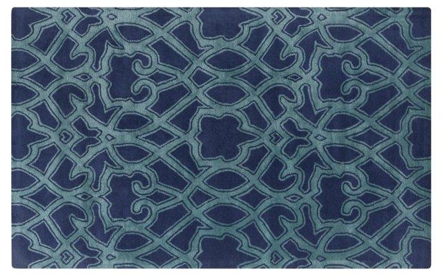 Angles Rug, Blue/Green