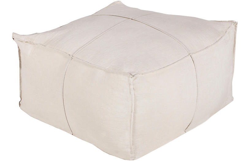 Evelia Linen Pouf, Cream