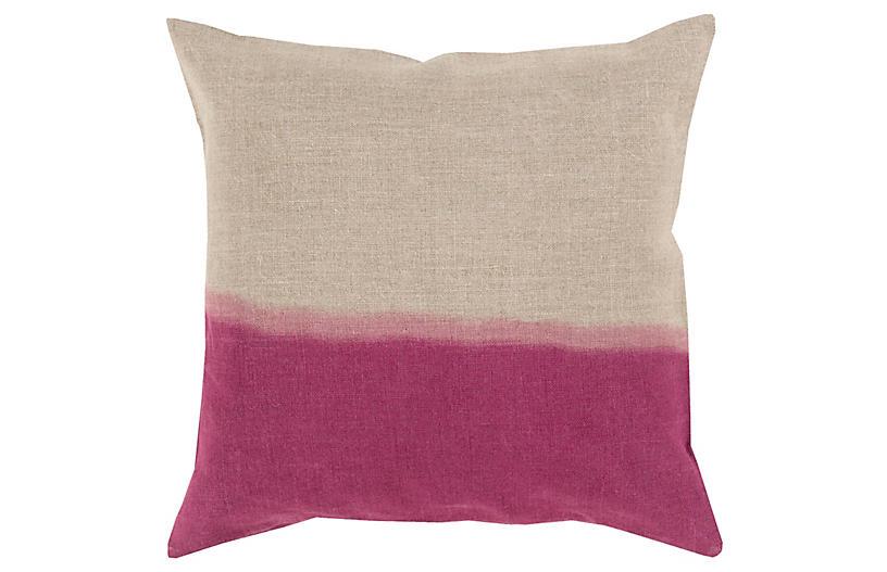 Dip-Dyed Pillow, Khaki/Magenta Linen