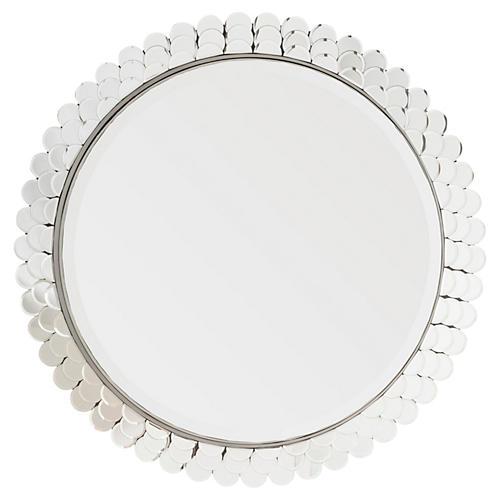 """Carol 34"""" Wall Mirror, Silver"""