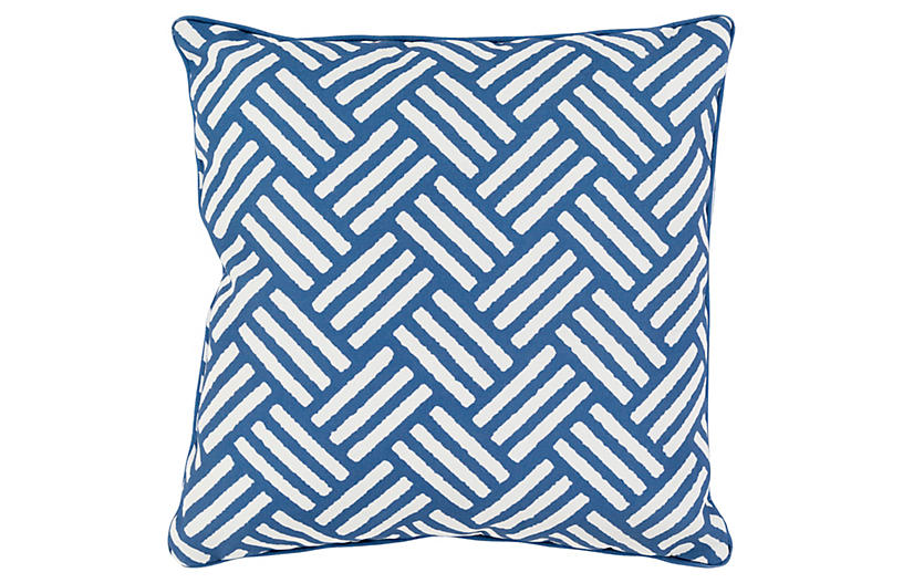 Basket-Weave 16x16 Outdoor Pillow, Blue