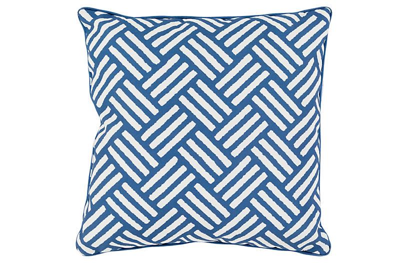 Basket-Weave 16x16 Outdoor Pillow, Blue