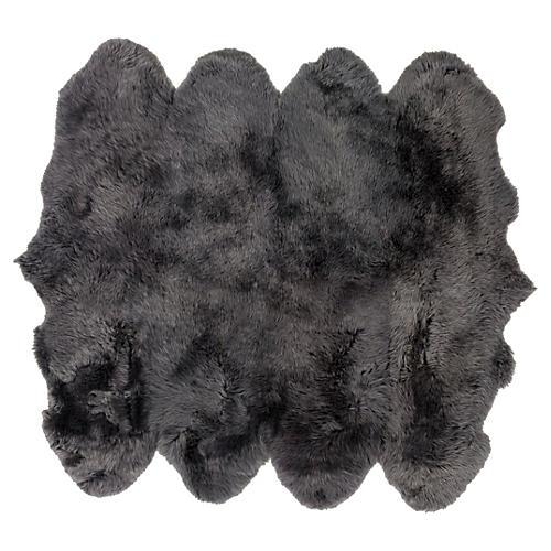 6'x8' Sheepskin Rug, Gray