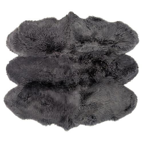 6'x6' Sheepskin Rug, Gray