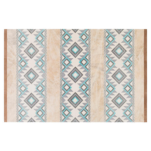 Dominica Rug, Light Gray/Aqua