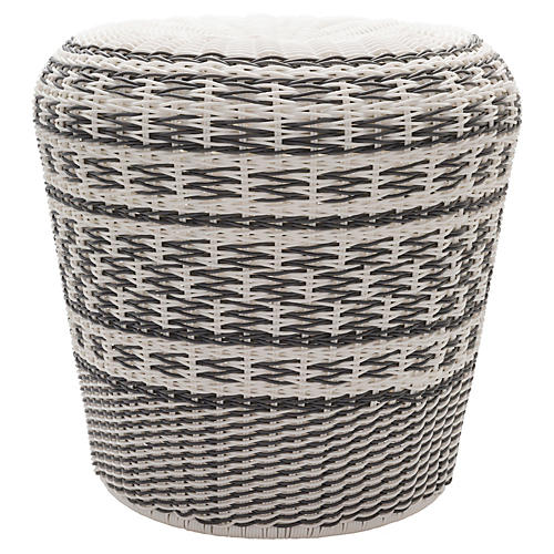 Hayden Garden Stool, Gray/White