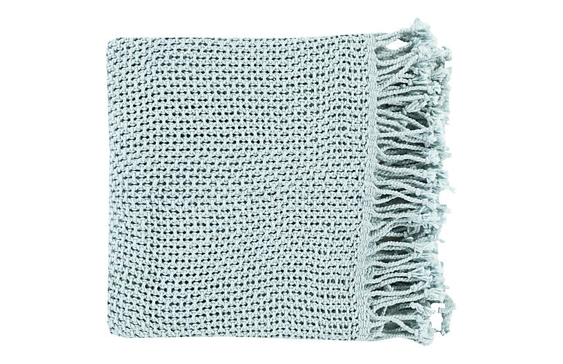 Nadia Cotton Throw, Seafoam