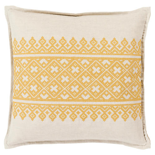 Pentas Decorative Pillow, Mustard/Khaki