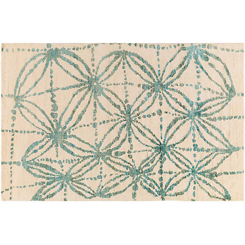 Philpot Jute Rug, Aqua/Cream