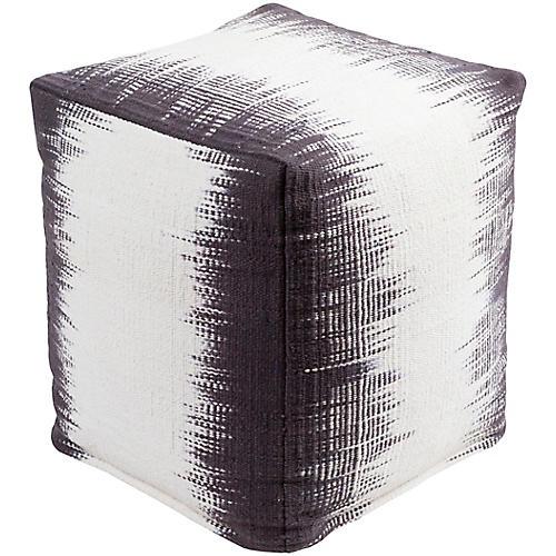 Milford Cube Pouf, Purple/Cream
