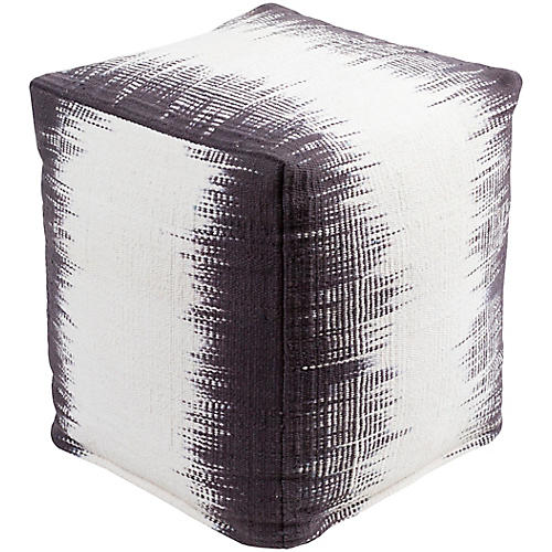 Milford Cube Pouf, Purple/Cream