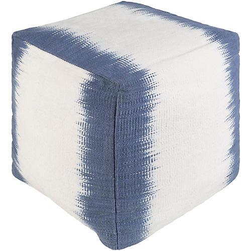 Milford Cube Pouf, Blue/White