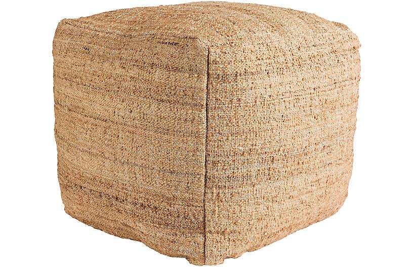 Seaport Cube Pouf, Camel