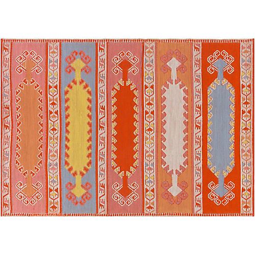 Jess Outdoor Rug, Coral/Multi