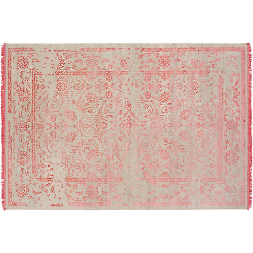 Ellicott Hand-Knotted Rug, Coral/Khaki