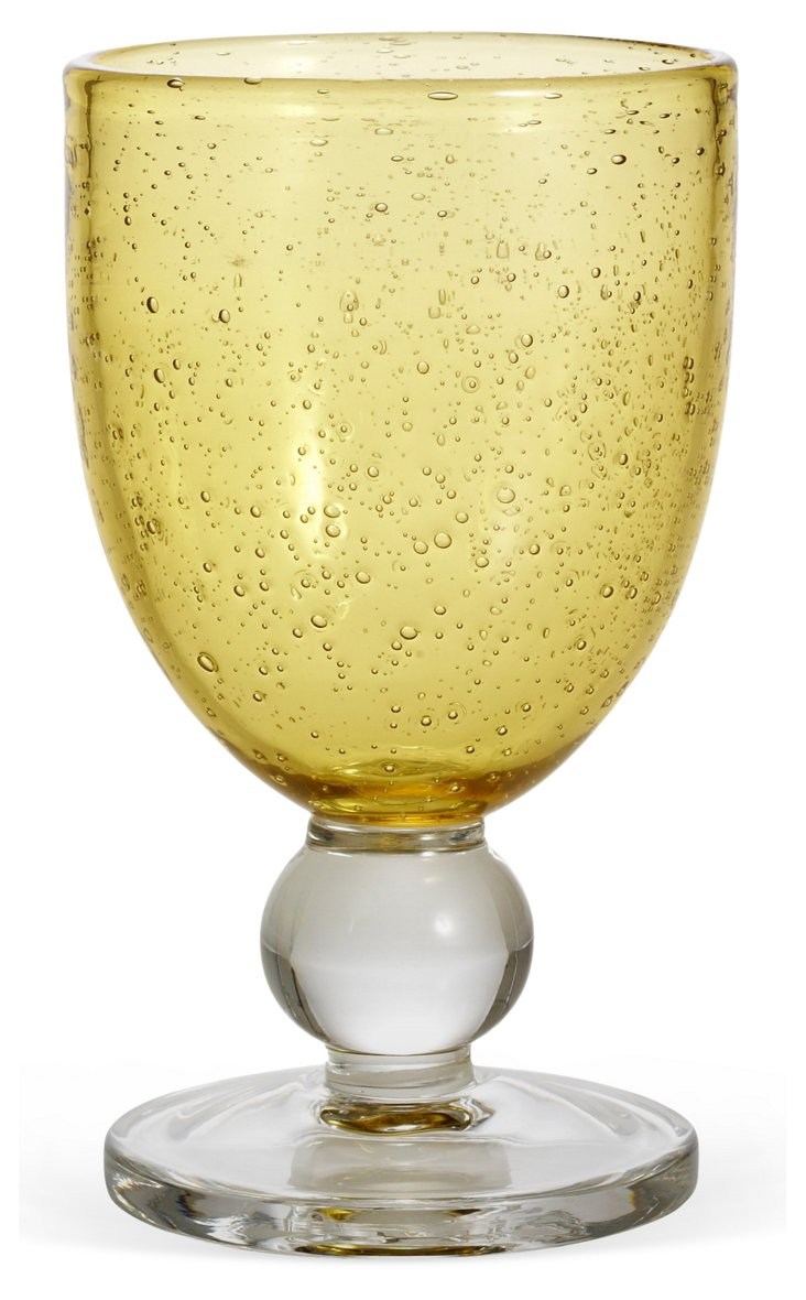 S/6 Bubble-Glass Goblets, Wheat