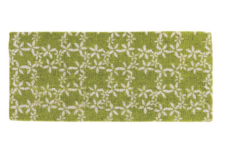 """1'6""""x2'6"""" Floral Coir Mat, Green"""