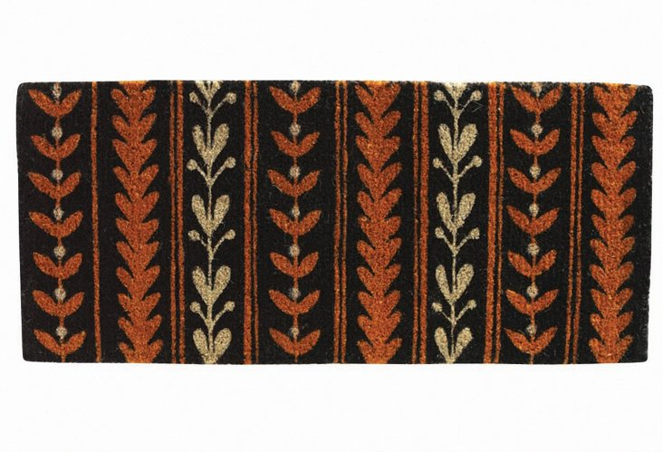 Leaf Garland Mat, Black/Rust