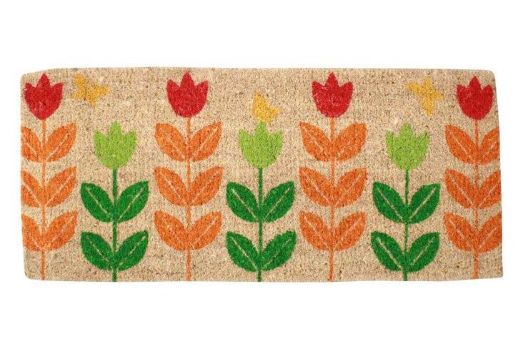 "1'6""x3'4"" Tulips Coir Mat, Multi"