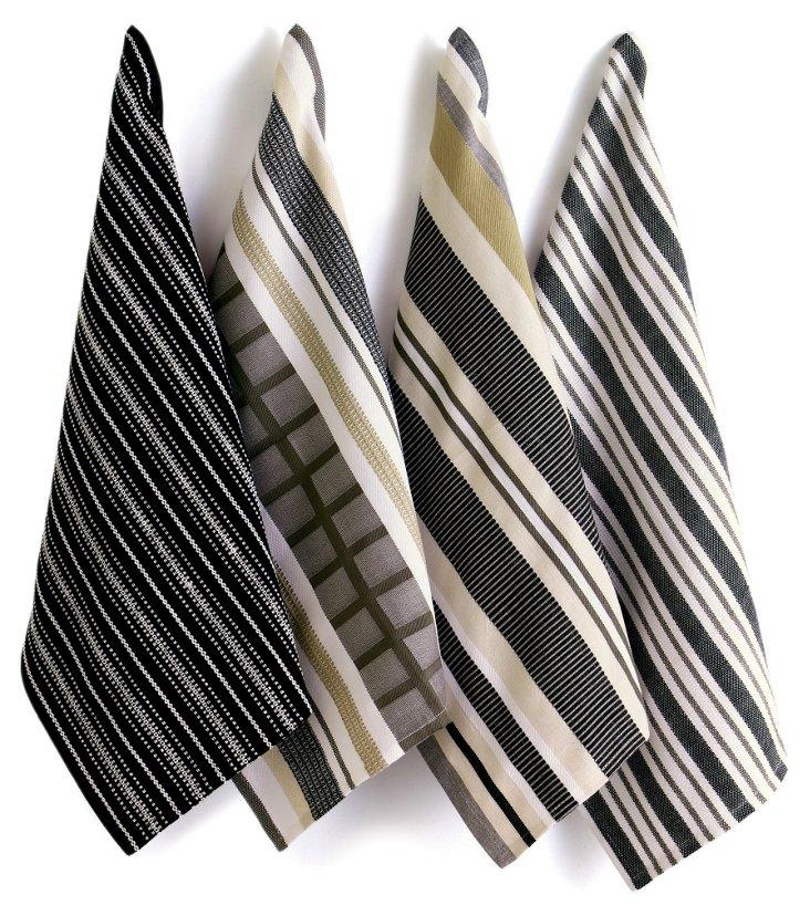 Asst of 4 Basic Dish Towels, Charcoal