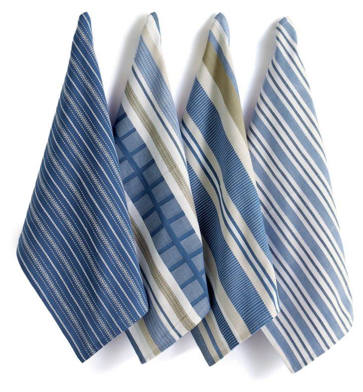 Asst of 4 Basic Dish Towels, Blue