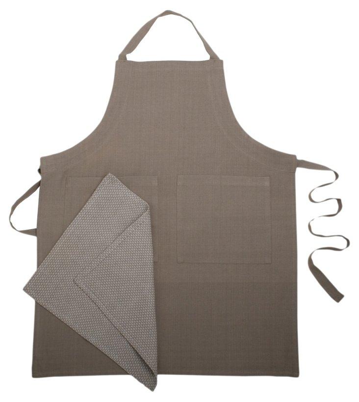 Organic Apron & Dish Towel Set, Taupe