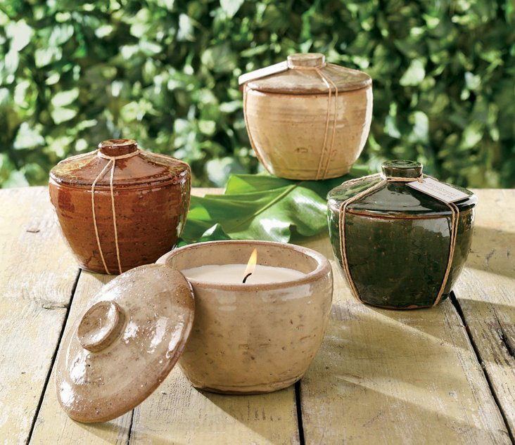 Rustic Stoneware Candles, Asst. of 6