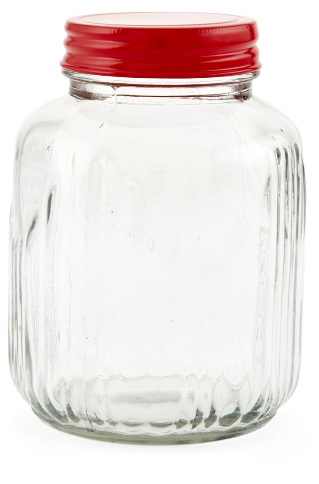S/2 Vintage-Style Glass Jars, Small