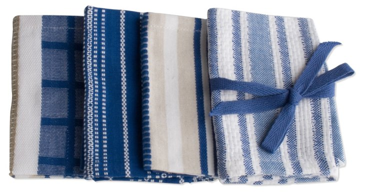 S/8 Assorted Basic Dishcloths, Blue