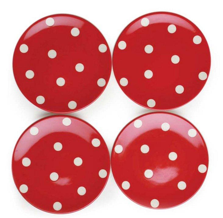 S/4 Polka Dot Appetizer Plates