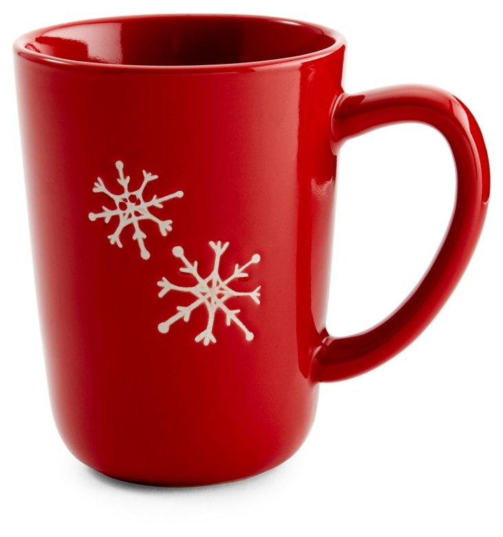 S/2 Red Snowflake Mugs