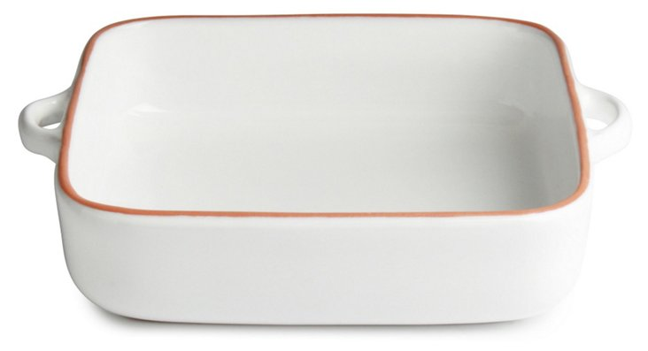 Square Terracotta Glazed Baker, White