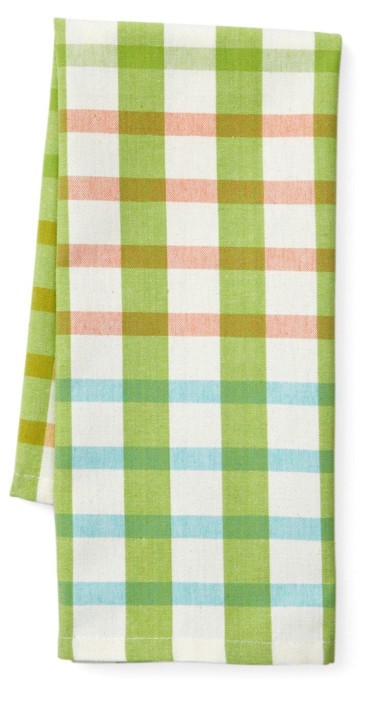 S/4 Ariel Plaid Dish Towels, Lime