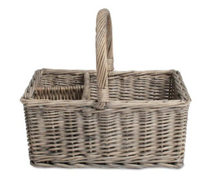 3-Section Willow Basket Caddy