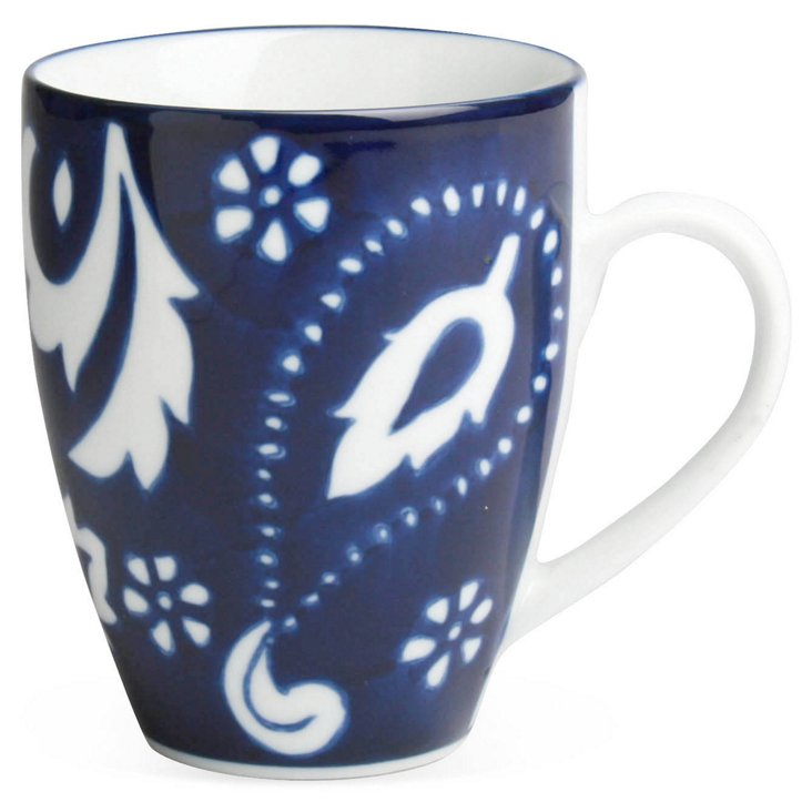 S/4 Blue Paisley Mugs