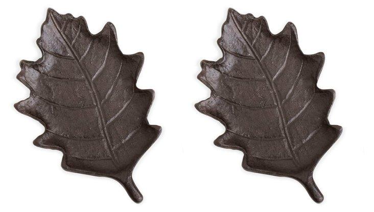 S/2 Oak Leaf Pillar Plates