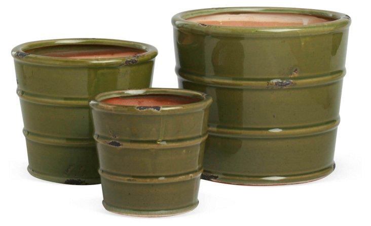 Asst. of 3 Glazed Planters, Green