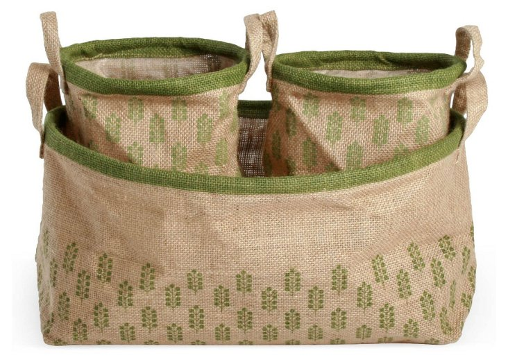 S/3 Printed Jute Canvas Containers