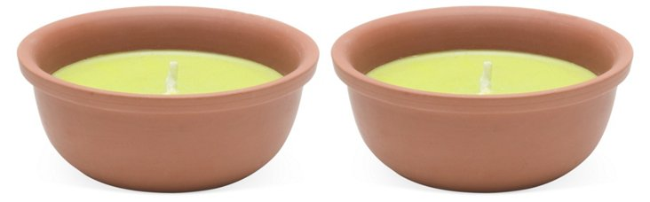 S/2 Terracotta Candle Pots, Yellow